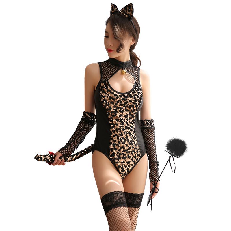 霏慕 漆皮镂空狂野豹纹猫女制服放荡诱惑套装-美咻咻商城