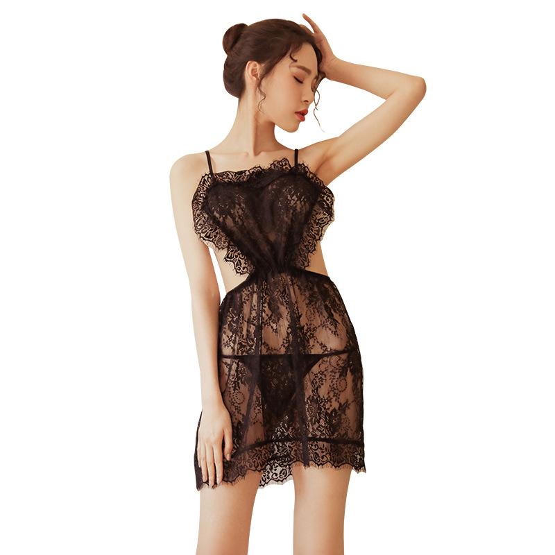 霏慕 露背蕾丝制服诱惑情趣睡衣性感睡裙套装-美咻咻情趣用品商城