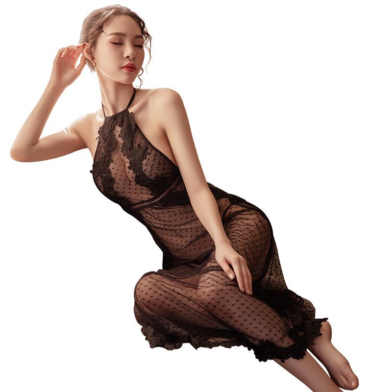 霏慕 蕾丝透视星空露背挂脖情趣睡衣性感睡裙-美咻咻商城