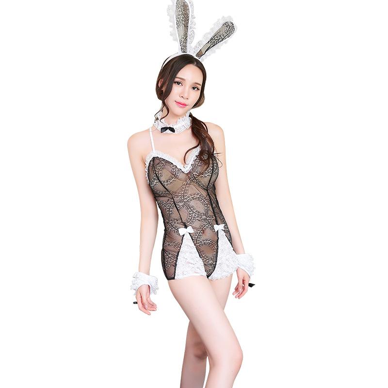 霏慕 性感透明制服诱惑绑带俏皮蕾丝兔女郎套装-美咻咻商城