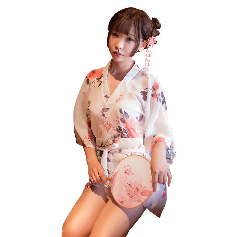 霏慕 和服性感印花雪纺日式成人睡袍开襟诱惑浴衣-美咻咻情趣用品商城