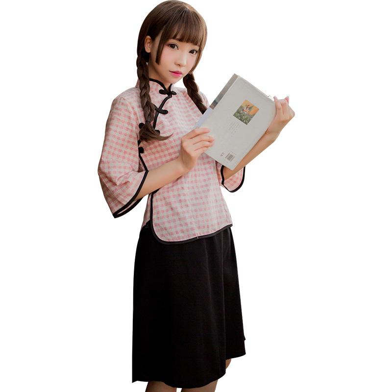 霏慕 民国学生格子装七分袖棉麻复古制服诱惑激情套装-美咻咻情趣用品商城