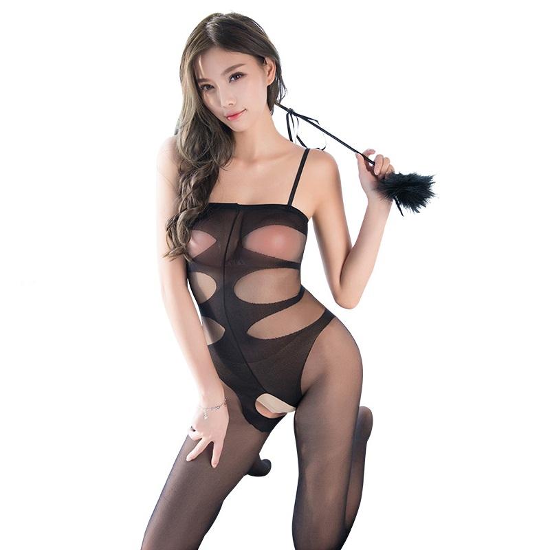 霏慕 开裆透视丝袜性感捆绑露胸连身袜激情诱惑套装-美咻咻商城