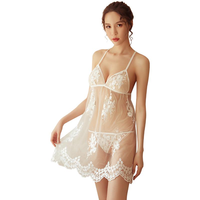 霏慕 诱惑透明薄纱睡衣情趣性感露背蕾丝吊带睡裙-美咻咻商城