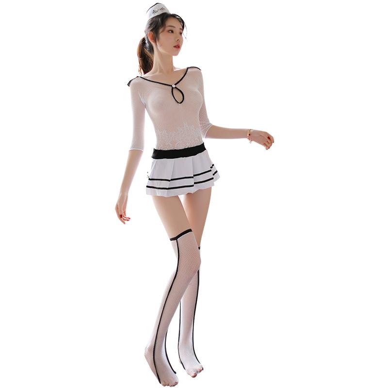霏慕 制服诱惑气质空姐透视性感连身袜丝袜套装-美咻咻情趣用品商城
